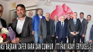 Bakkalar Odası başkanı Zafer Kara'dan Cumhur ittifakı adayı ERYÜKSEL'E Tam destek