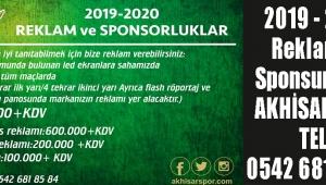 2019 - 2020 Reklam ve Sponsurluklar AKHİSARSPOR TEL : 0542 681 85 84