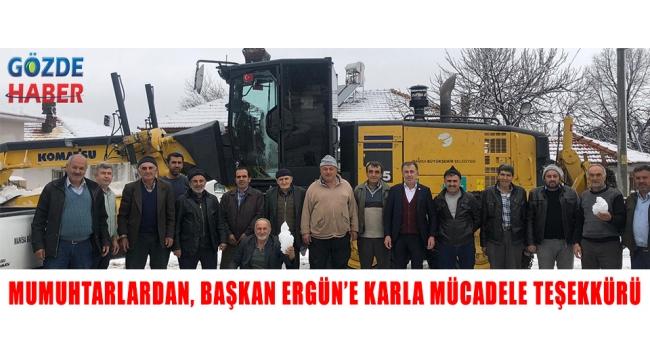Muhtarlardan, Başkan Ergün'e Karla Mücadele Teşekkürü