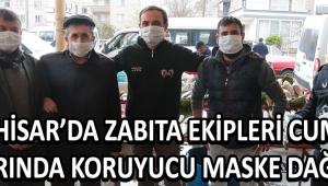 Akhisar'da Zabıta Ekipleri Cuma Pazarında Koruyucu Maske Dağıttı !