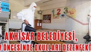 Akhisar Belediyesi, sınav öncesinde okulları dezenfekte etti !
