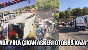Manisada Yola Çıkan Askeri Otobüs Kaza Yaptı!
