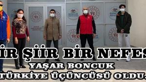Yaşar Boncuk Türkiye üçüncüsü oldu.