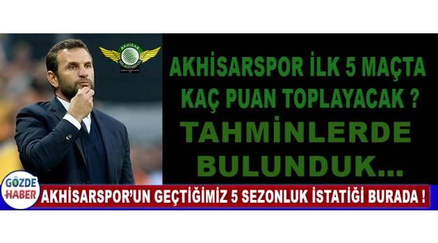 Akhisarspor'un Geçtiğimiz 5 Sezonluk İstatiğini Burada !