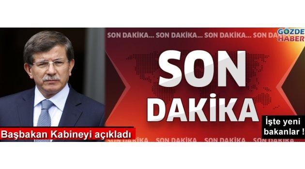 Başbakan Davutoğlu yeni kabineyi açıkladı