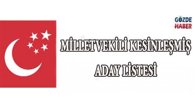 Manisa Milletvekili Kesinleşmiş Aday Listesi