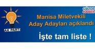 Ak Parti Manisa aday adayları açıklandı