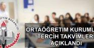 Ortaöğretim kurumları tercih takvimi açıklandı